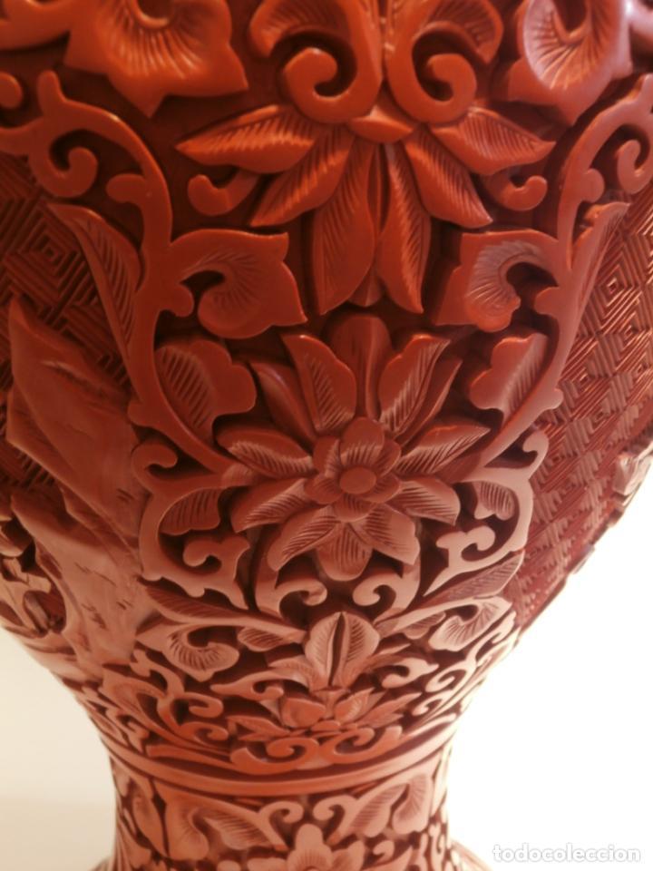 Antigüedades: Gran jarron de LACA CINABRIO 38ctms. - Foto 3 - 75273815