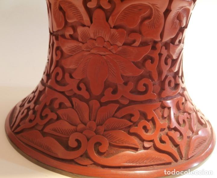 Antigüedades: Gran jarron de LACA CINABRIO 38ctms. - Foto 4 - 75273815