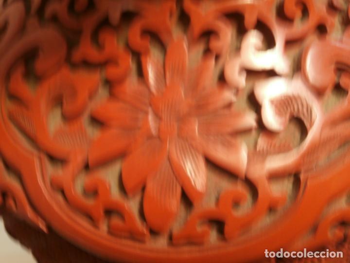 Antigüedades: Gran jarron de LACA CINABRIO 38ctms. - Foto 5 - 75273815