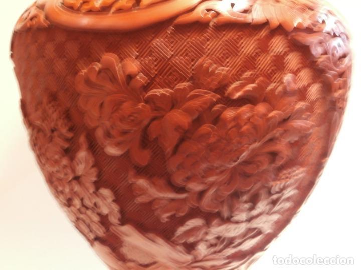 Antigüedades: Gran jarron de LACA CINABRIO 38ctms. - Foto 7 - 75273815
