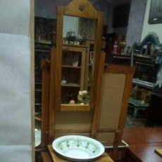 Antigüedades: CONJUNTO AGUAMANIL DE CERÁMICA DECORADA, COMPUESTO POR TAZA Y JARRA. Lote 75296359