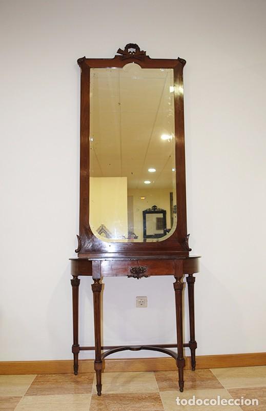 Consola antigua en caoba estilo luis xvi comprar for Consolas antiguas muebles