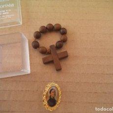 Antigüedades: PEQUEÑA CRUZ DE MADERA Y ALFILER RELIGIOSO. Lote 75406183