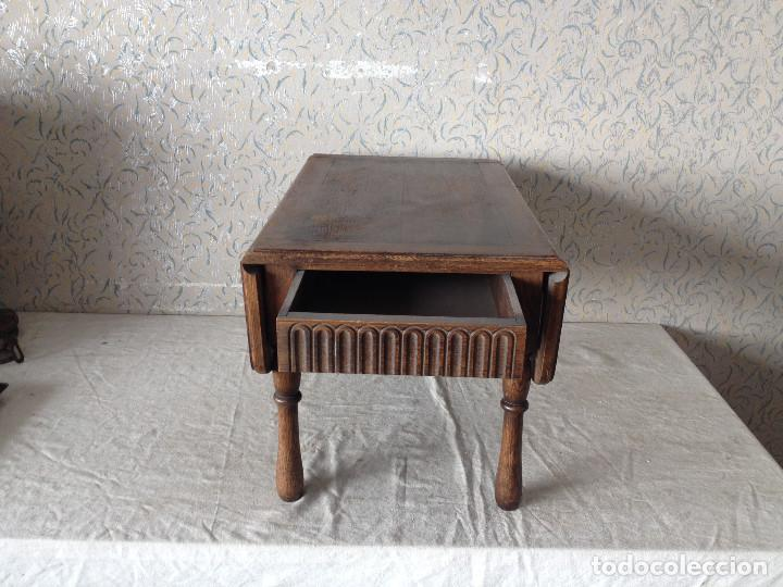 Antigüedades: ANTIGUA MESA ALAS CENTRO MADERA DE ROBLE. CON CAJÓN.PATAS TORNEADAS - Foto 3 - 75425287