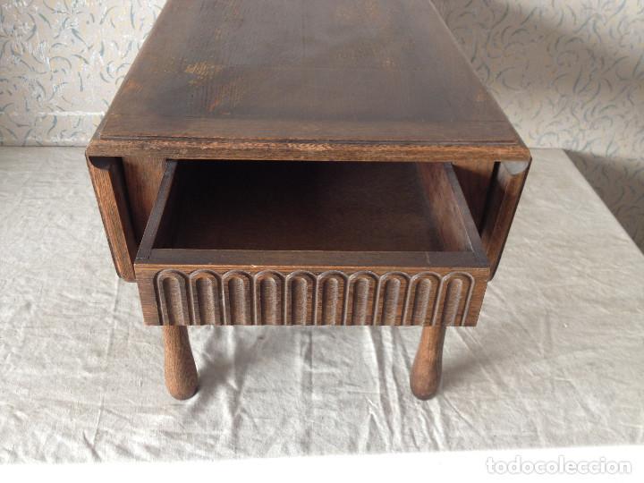 Antigüedades: ANTIGUA MESA ALAS CENTRO MADERA DE ROBLE. CON CAJÓN.PATAS TORNEADAS - Foto 4 - 75425287