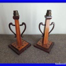 Antigüedades: CANDELEROS LAMPARAS EN MADERA ANTIGUOS. Lote 62360736
