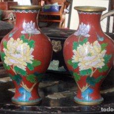 Antigüedades: FANTÁSTICA PAREJA DE ANTIGUOS JARRONES ESMALTADOS - CLOISONNE. Lote 75512907