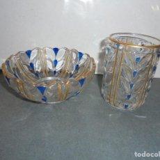 Antigüedades: ANTIGUO BASO Y PALANGANA EN RELIEVE , CRISTAL PINTADO AZUL Y DORADO , MARCADO BACCARAT DEPOSÉ. Lote 75528527