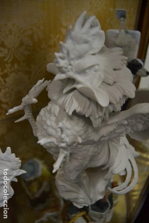Antigüedades: gallos en biscuit de porcelana algora - Foto 3 - 75540715