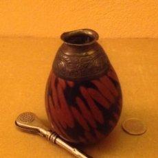 Antigüedades: POCILLO PARA EL MATE, CON SU PIPA.. Lote 75552143