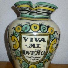 Antigüedades: JARRA CERAMICA PUENTE ARZOBISPO ( TOLEDO ) CON ESCUDO VIVA MI DUEÑO Y LEONES. Lote 75557791