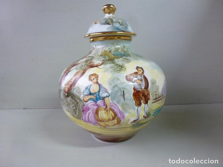 Antigüedades: jarron, tibor. ceramica española, pintada a mano C. Zara. RESERVADO - Foto 3 - 194363535