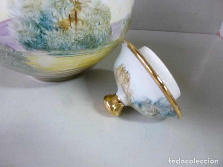 Antigüedades: jarron, tibor. ceramica española, pintada a mano C. Zara. RESERVADO - Foto 9 - 194363535