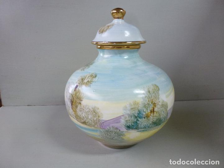 Antigüedades: jarron, tibor. ceramica española, pintada a mano C. Zara. RESERVADO - Foto 10 - 194363535