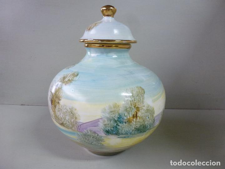 Antigüedades: jarron, tibor. ceramica española, pintada a mano C. Zara. RESERVADO - Foto 12 - 194363535