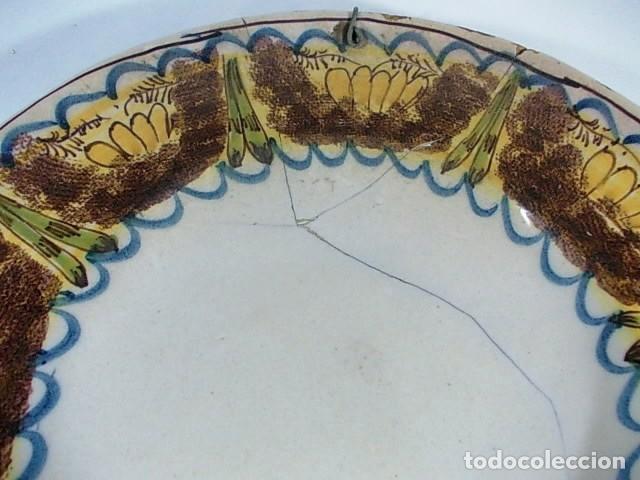 Antigüedades: ANTIGUO PLATO CERAMICA RIBESALBES DEL XVIII CON LA TECNICA ESPONJADO - Foto 3 - 75626787