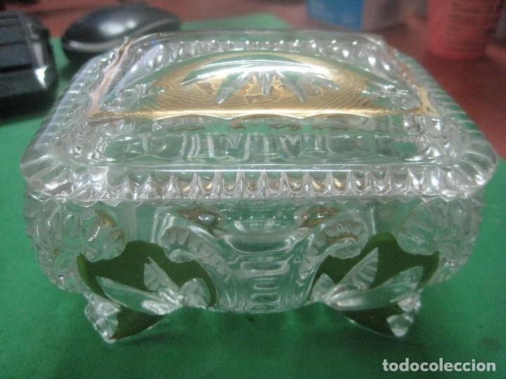 PRECIOSA BOMBONERA DE CRISTAL TALLADO A LA MUELA ESTILO LALIQUE CON TERMINACIONES EN ORO, MUY GRUESO (Antigüedades - Cristal y Vidrio - Lalique )