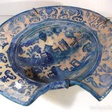 Antigüedades: ANTIGUA Y MAGNIFICA VACÍA DE BARBERO DE GRAN MEDIDA CON PRECIOSA DECORACION. Lote 75630491