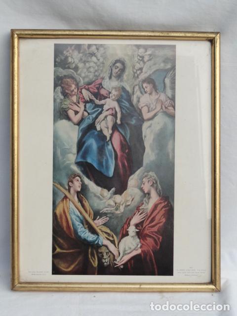 BONITO MARCO CON LÁMINA RELIGIOSA. (Antigüedades - Hogar y Decoración - Marcos Antiguos)