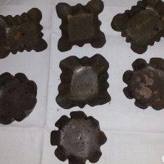 Antigüedades: LOTE DE 7 MOLDES REPOSTERÍA PARA MADALENAS- PASTELES- PASTAS- DULCES. Lote 75637862