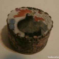Antigüedades: PASTILLERO CHINO PORCELANA Y METAL. Lote 75658727