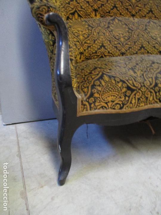 Antigüedades: Antiguo Tresillo - Sofá, Pareja Sillones, 6 Sillas -Silleria Isabelina -Madera - Laca Negra - S. XIX - Foto 5 - 75659023