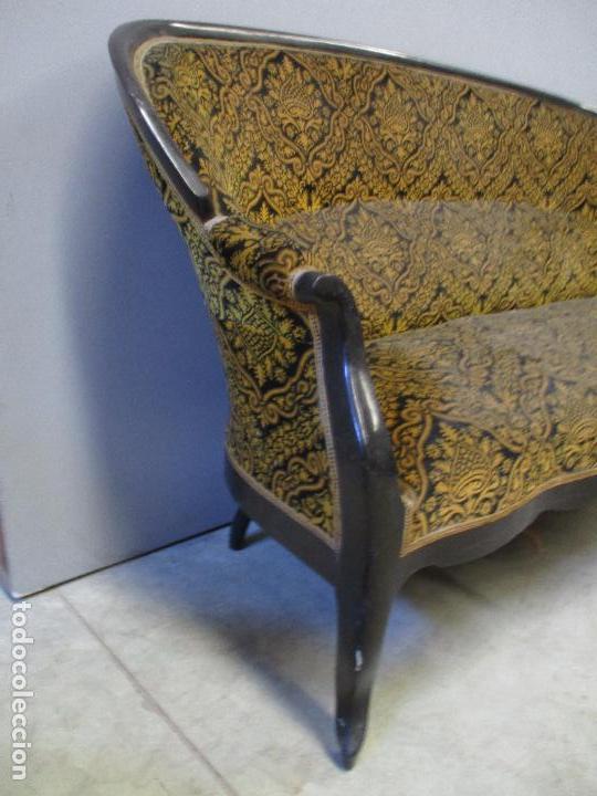 Antigüedades: Antiguo Tresillo - Sofá, Pareja Sillones, 6 Sillas -Silleria Isabelina -Madera - Laca Negra - S. XIX - Foto 6 - 75659023
