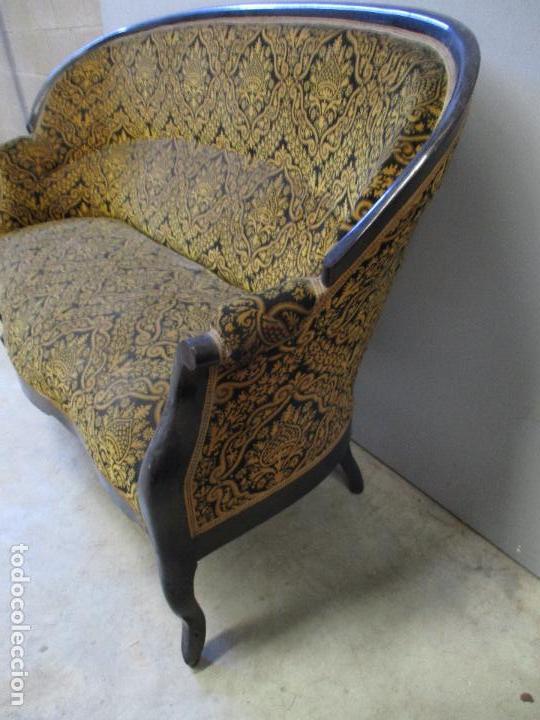 Antigüedades: Antiguo Tresillo - Sofá, Pareja Sillones, 6 Sillas -Silleria Isabelina -Madera - Laca Negra - S. XIX - Foto 9 - 75659023