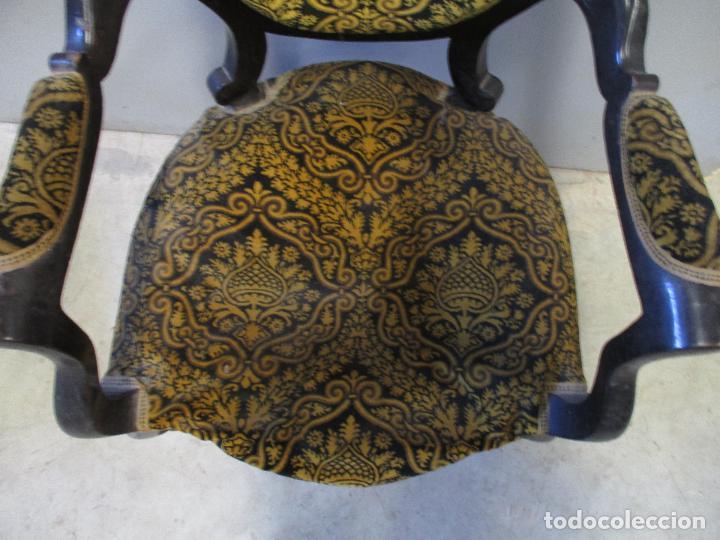 Antigüedades: Antiguo Tresillo - Sofá, Pareja Sillones, 6 Sillas -Silleria Isabelina -Madera - Laca Negra - S. XIX - Foto 17 - 75659023