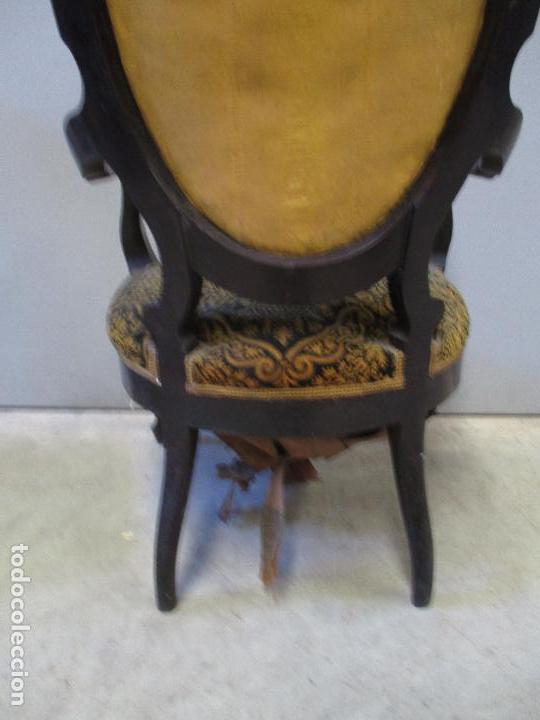 Antigüedades: Antiguo Tresillo - Sofá, Pareja Sillones, 6 Sillas -Silleria Isabelina -Madera - Laca Negra - S. XIX - Foto 21 - 75659023