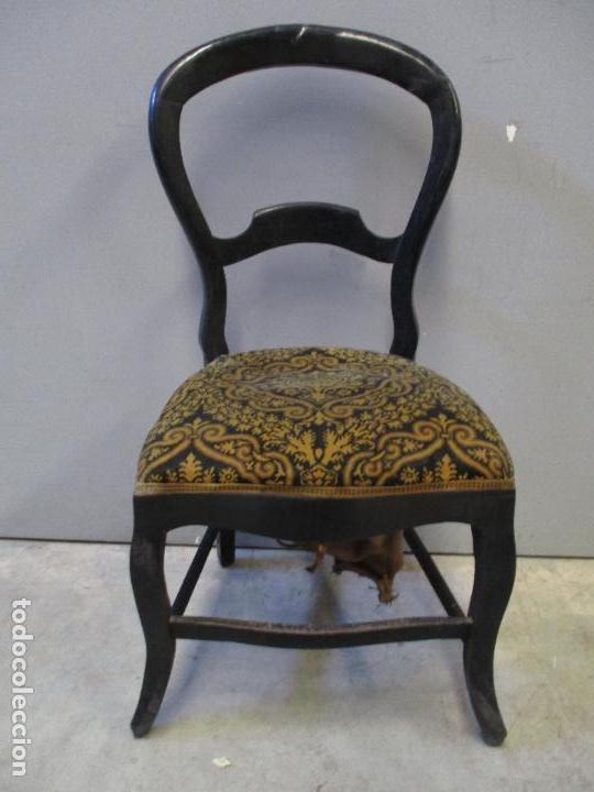 Antigüedades: Antiguo Tresillo - Sofá, Pareja Sillones, 6 Sillas -Silleria Isabelina -Madera - Laca Negra - S. XIX - Foto 24 - 75659023