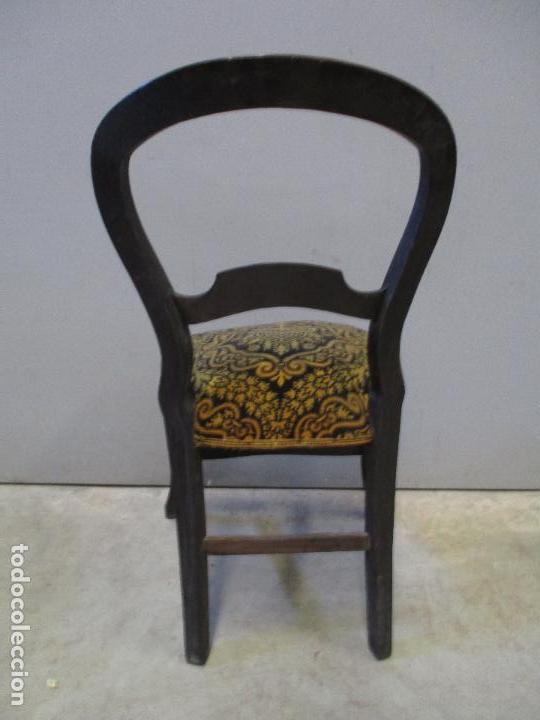 Antigüedades: Antiguo Tresillo - Sofá, Pareja Sillones, 6 Sillas -Silleria Isabelina -Madera - Laca Negra - S. XIX - Foto 29 - 75659023