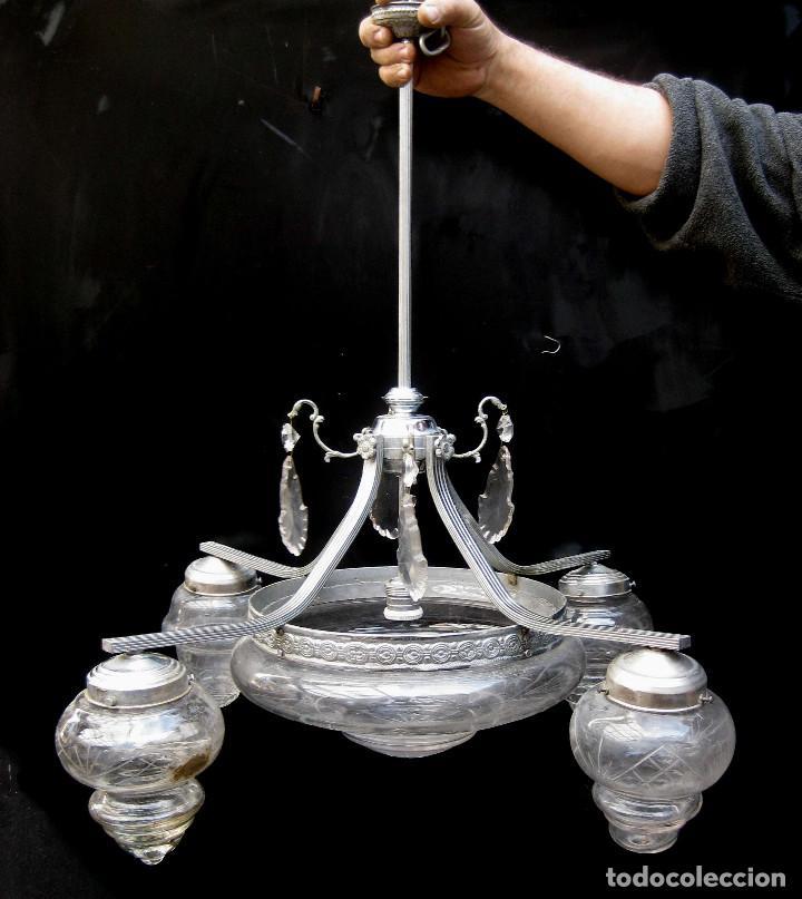 LAMPARA ANTIGUA MODERNISTA EN LATON NIKELADO Y CRISTAL AL ACIDO IDEAL VINTAGE DECORACION (Antigüedades - Iluminación - Lámparas Antiguas)