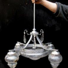 Antigüedades: LAMPARA ANTIGUA MODERNISTA EN LATON NIKELADO Y CRISTAL AL ACIDO IDEAL VINTAGE DECORACION . Lote 75660759