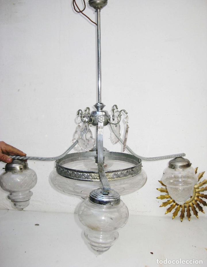 Antigüedades: LAMPARA ANTIGUA MODERNISTA EN LATON NIKELADO Y CRISTAL AL ACIDO IDEAL VINTAGE DECORACION - Foto 2 - 75660759