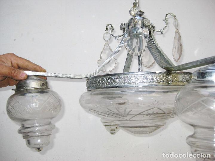 Antigüedades: LAMPARA ANTIGUA MODERNISTA EN LATON NIKELADO Y CRISTAL AL ACIDO IDEAL VINTAGE DECORACION - Foto 5 - 75660759