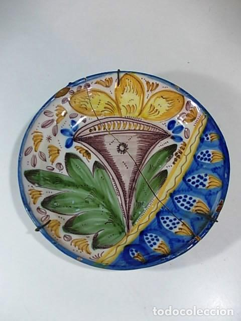 ANTIGUO PLATO VALENCIANO DEL XVIII (Antigüedades - Porcelanas y Cerámicas - Ribesalbes)