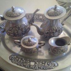 Antigüedades: JUEGO DE CAFÉ METAL. Lote 75684131