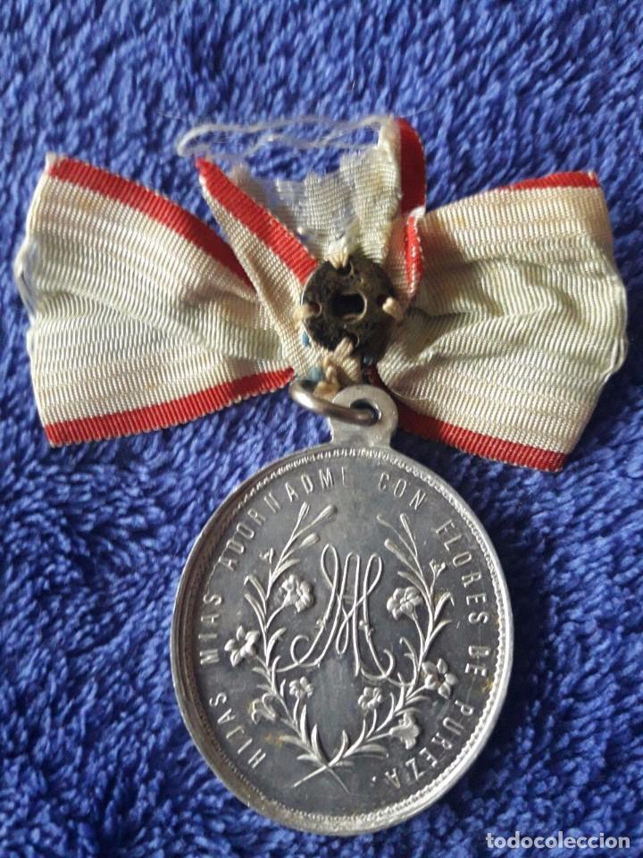 MEDALLA HIJAS MÍAS ADORADME CON FLORES DE PUREZA / A TI Q. MADRE MARIA OFREZCO MI CORAZON, SALVADME (Antigüedades - Religiosas - Medallas Antiguas)