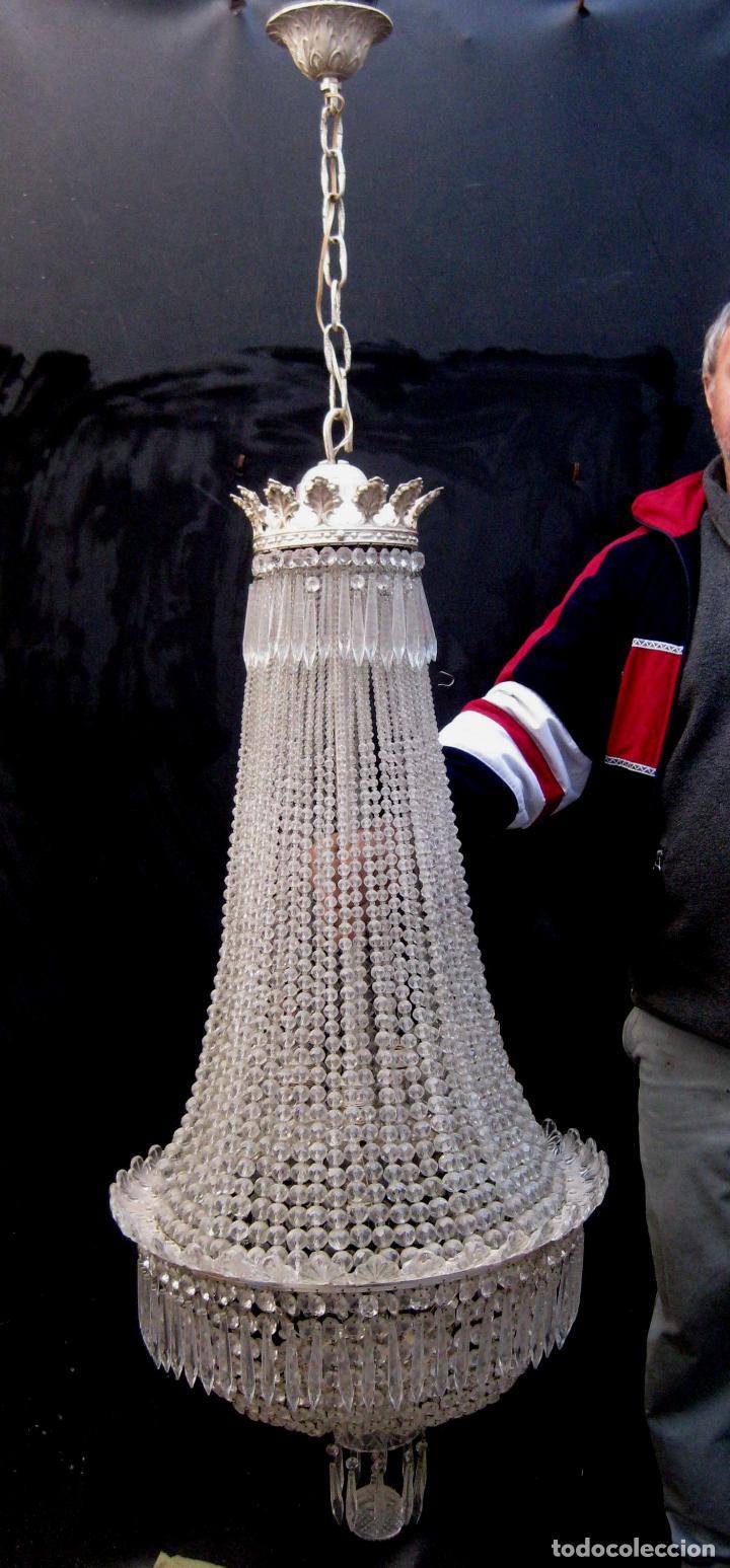 LAMPARA VIP ANTIGUA 175CM CRISTAL BACCARAT FRANCIA SACO IMPERIO GRAN HOTEL TIENDA (Antigüedades - Iluminación - Lámparas Antiguas)