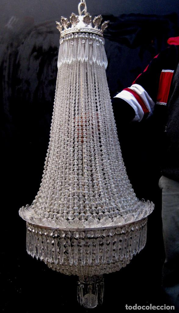 Antigüedades: BESTIAL LAMPARA VIP ANTIGUA 175CM CRISTAL BACCARAT FRANCIA SACO IMPERIO 1940 GRAN HOTEL TIENDA - Foto 2 - 75734619