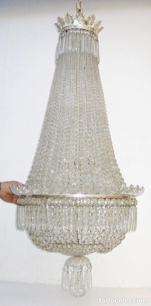 Antigüedades: BESTIAL LAMPARA VIP ANTIGUA 175CM CRISTAL BACCARAT FRANCIA SACO IMPERIO 1940 GRAN HOTEL TIENDA - Foto 6 - 75734619