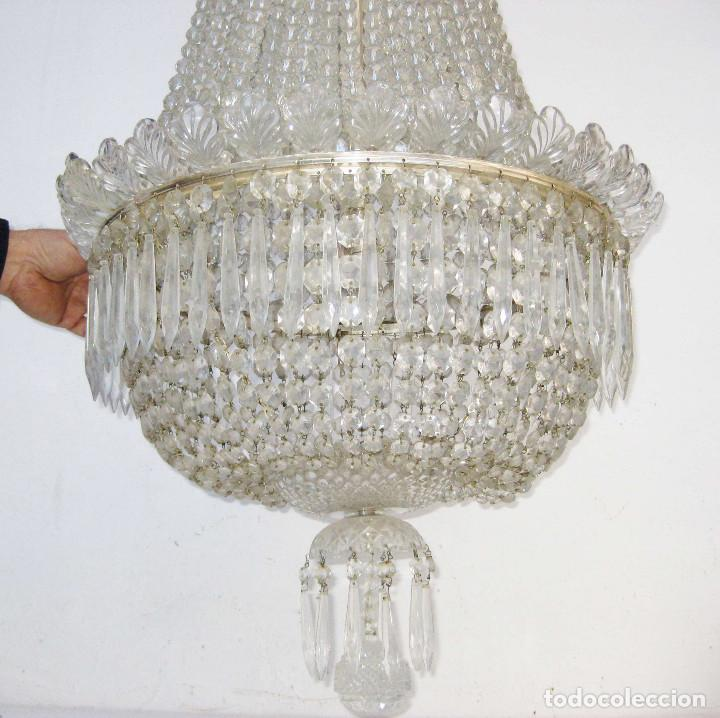 Antigüedades: BESTIAL LAMPARA VIP ANTIGUA 175CM CRISTAL BACCARAT FRANCIA SACO IMPERIO 1940 GRAN HOTEL TIENDA - Foto 7 - 75734619