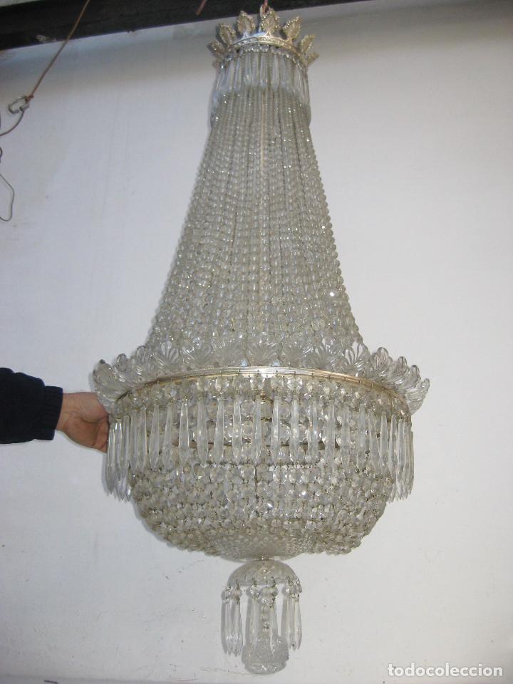 Antigüedades: BESTIAL LAMPARA VIP ANTIGUA 175CM CRISTAL BACCARAT FRANCIA SACO IMPERIO 1940 GRAN HOTEL TIENDA - Foto 8 - 75734619