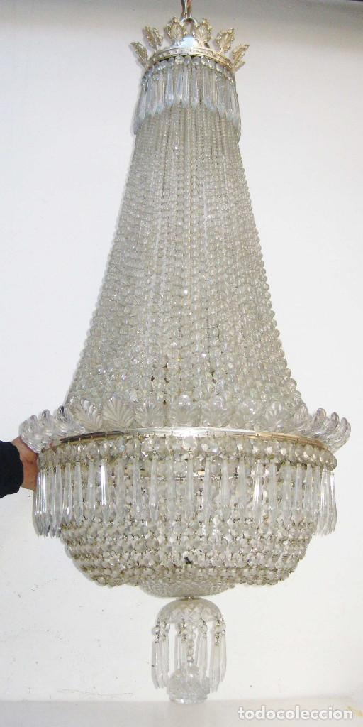 Antigüedades: BESTIAL LAMPARA VIP ANTIGUA 175CM CRISTAL BACCARAT FRANCIA SACO IMPERIO 1940 GRAN HOTEL TIENDA - Foto 9 - 75734619