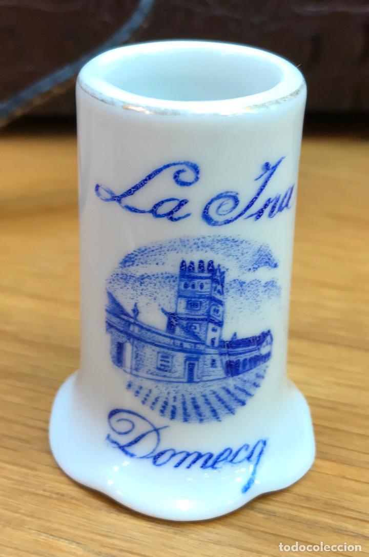 Antigüedades: Antiguo palillero de loza o porcelana - Brandy Fundador y fino la Ina - Domecq - Foto 2 - 75741315