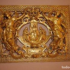 Antigüedades: ESPECTACULAR PLACA BRONCE CON ORO AL MERCURIO DE MAUSOLEO O PANTEÓN ANTIGUA. Lote 75795803