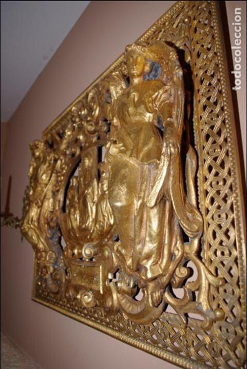 Antigüedades: Espectacular placa bronce con oro al mercurio de mausoleo o panteón antigua - Foto 3 - 75795803