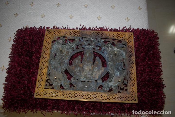 Antigüedades: Espectacular placa bronce con oro al mercurio de mausoleo o panteón antigua - Foto 5 - 75795803