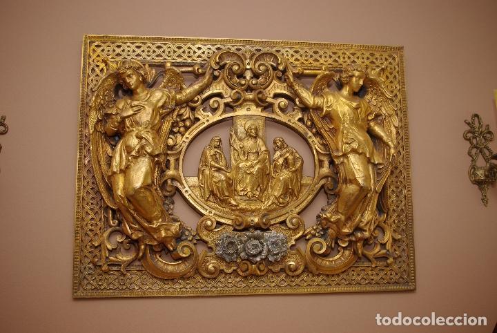 Antigüedades: Espectacular placa bronce con oro al mercurio de mausoleo o panteón antigua - Foto 7 - 75795803